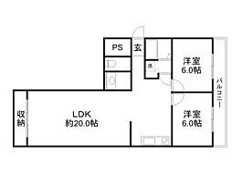 京阪本線 滝井駅 徒歩2分の賃貸マンション 4階2LDKの間取り