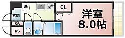 JR大阪環状線 鶴橋駅 徒歩9分の賃貸マンション 10階1Kの間取り
