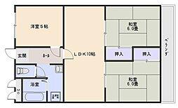 大阪府八尾市山城町4丁目の賃貸マンションの間取り