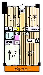 東京都町田市金井5丁目の賃貸マンションの間取り