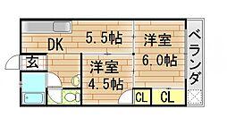 グローリィハイツ八戸ノ里[54号室]の間取り