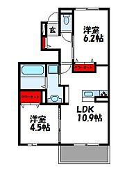 マロンシャトー 1階2LDKの間取り