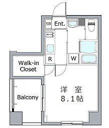 東京メトロ半蔵門線 水天宮前駅 徒歩9分の賃貸マンション 4階1Kの間取り