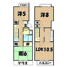 ロイヤル二俣川A棟[2号室]の間取り