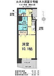 ルネス武富II 2階1Kの間取り