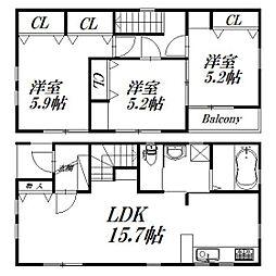 [一戸建] 静岡県浜松市中区佐鳴台6丁目 の賃貸【/】の間取り