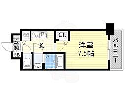 ディームス江坂 6階1Kの間取り