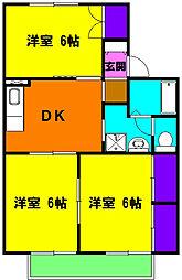 静岡県浜松市中区上島3丁目の賃貸アパートの間取り