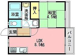 奈良県生駒郡三郷町勢野東4丁目の賃貸アパートの間取り