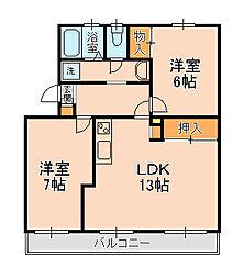 カーサ六高台[4B号室]の間取り