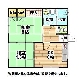 福岡県北九州市小倉北区愛宕2丁目の賃貸アパートの間取り