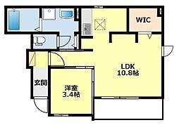 名鉄豊田線 日進駅 徒歩24分の賃貸アパート 1階1LDKの間取り