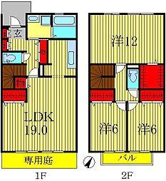 [テラスハウス] 千葉県流山市松ヶ丘5丁目 の賃貸【/】の間取り