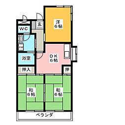 三宅ハイツ[4階]の間取り