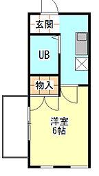 神奈川県横浜市金沢区釜利谷東7丁目の賃貸アパートの間取り