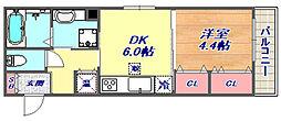 兵庫県神戸市東灘区本山中町1丁目の賃貸アパートの間取り