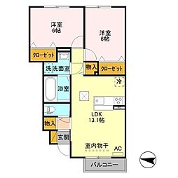 (仮)D-room鳥屋野南二丁目[1階]の間取り