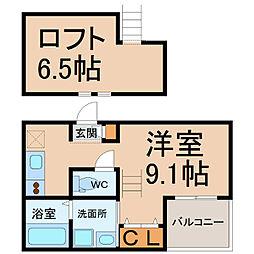 愛知県名古屋市西区枇杷島1丁目の賃貸アパートの間取り