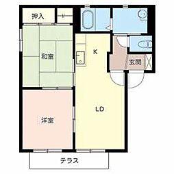 大阪府高石市綾園5丁目の賃貸アパートの間取り