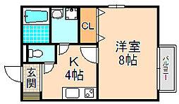 兵庫県伊丹市梅ノ木5丁目の賃貸アパートの間取り