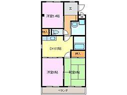 愛知県知多市寺本新町2丁目の賃貸マンションの間取り
