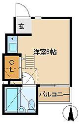 JR中央線 武蔵小金井駅 徒歩15分の賃貸アパート 2階ワンルームの間取り