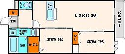 ヘーベルウォーク江坂 2階2LDKの間取り