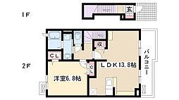 愛知県長久手市市が洞3丁目の賃貸アパートの間取り