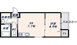 JR片町線(学研都市線) 徳庵駅 徒歩3分の賃貸アパート 3階1DKの間取り