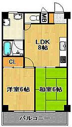 兵庫県宝塚市金井町4丁目の賃貸マンションの間取り