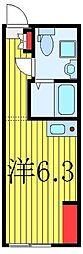 東武東上線 中板橋駅 徒歩4分の賃貸マンション 3階ワンルームの間取り