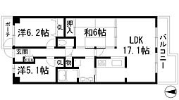 兵庫県宝塚市すみれガ丘3丁目の賃貸マンションの間取り