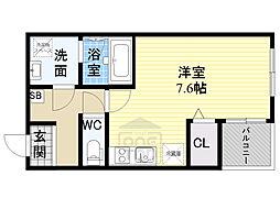 Osaka Metro谷町線 千林大宮駅 徒歩10分の賃貸アパート 3階ワンルームの間取り