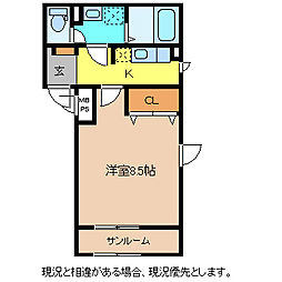 長野電鉄長野線 市役所前駅 徒歩3分の賃貸マンション 4階1Kの間取り