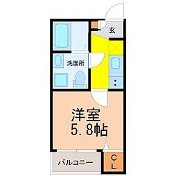 愛知県名古屋市北区山田3丁目の賃貸アパートの間取り