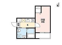 近鉄名古屋線 烏森駅 徒歩5分の賃貸アパート 1階1Kの間取り
