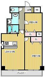 大阪府大阪市住之江区新北島2丁目の賃貸マンションの間取り