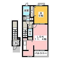 愛知県一宮市大和町妙興寺字於保越の賃貸アパートの間取り