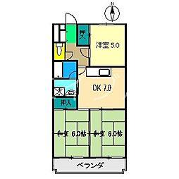 コーポ田中5号館[1階]の間取り
