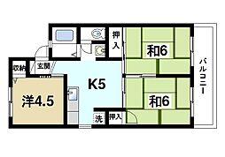 奈良県奈良市田中町の賃貸アパートの間取り