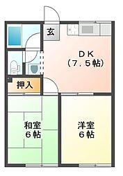 コーポ河芸[1階]の間取り