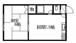 北海道札幌市豊平区美園五条1丁目の賃貸アパートの間取り