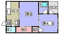 ハイツ金振[2階]の間取り
