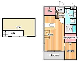 大阪府羽曳野市東阪田の賃貸アパートの間取り