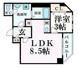 JR東海道・山陽本線 甲子園口駅 徒歩3分の賃貸マンション 3階1LDKの間取り