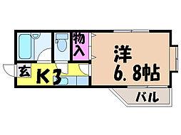 愛媛県松山市清水町3丁目の賃貸アパートの間取り