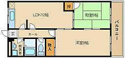 大阪府柏原市国分市場2丁目の賃貸アパートの間取り