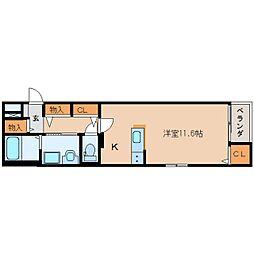 静岡鉄道静岡清水線 新清水駅 徒歩5分の賃貸マンション 2階ワンルームの間取り