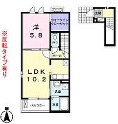広島県福山市南蔵王町5の賃貸アパートの間取り