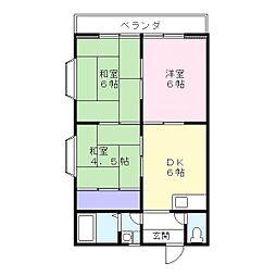 埼玉県草加市清門2丁目の賃貸アパートの間取り